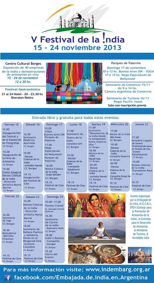 V Festival dela India en Buenos Aires - cronograma