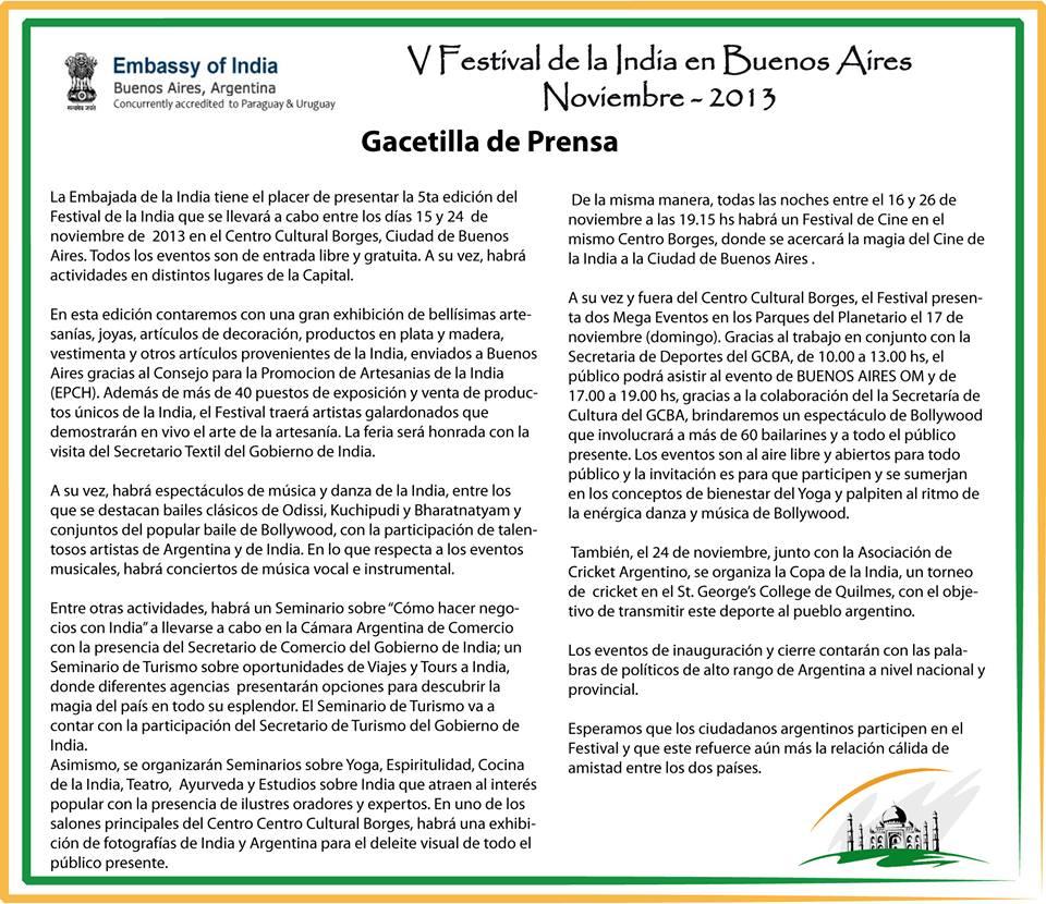 V Festival dela India en Buenos Aires - gacetilla de prensa