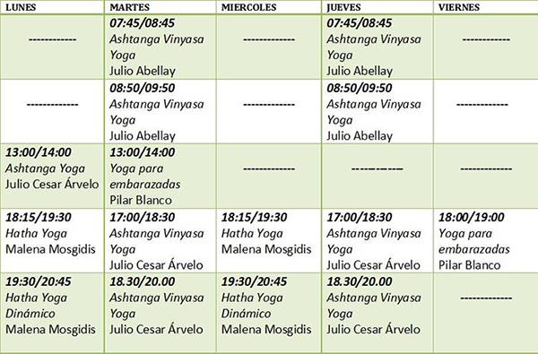 Horarios En Yoga