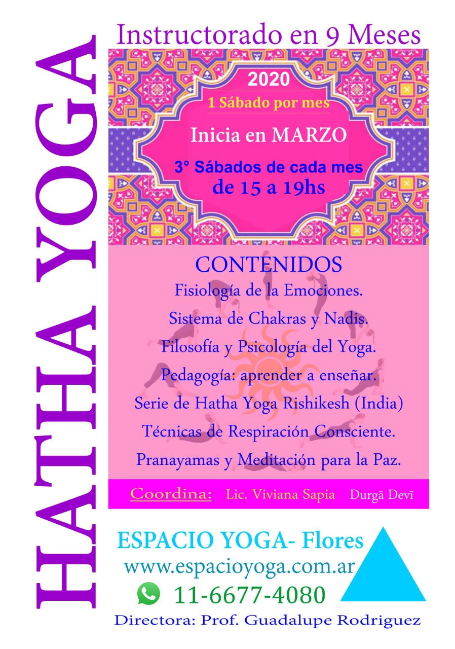 Instructorado de Hatha Yoga tradicional en ESPACIO YOGA